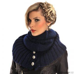 Tmavě modrý pletený nákrčník